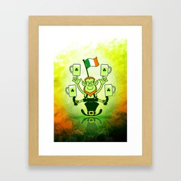 Leprechaun Juggling Beers and Irish Flag Framed Art Print
