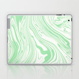 Pastel green & White marble Swirls Laptop & iPad Skin