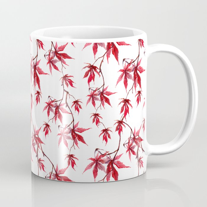 Watercolor Botanical Red Japanese Maple Leaves on Solid White Background Coffee Mug