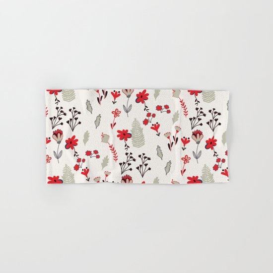 Red Vintage Floral Pattern Hand & Bath Towel
