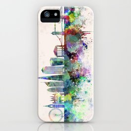 London V2 skyline in watercolor background iPhone Case