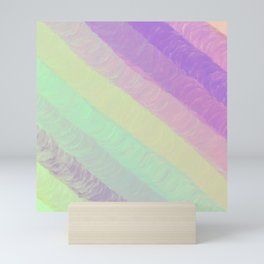 Hand painted geometrical pink lavender watercolor ombre stripes Mini Art Print