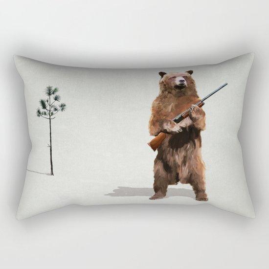 Bear with a shotgun Rectangular Pillow