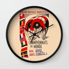 Retro cycling world championships 1935 Brussels Wall Clock