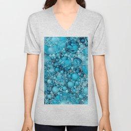Ocean Atlantic Blue Bubble Abstract Unisex V-Neck