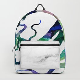 Watercolour Octopus on Marble Background Backpack
