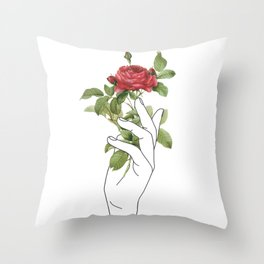 Flower in the Hand Throw Pillow