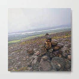 Rock Piles on the Hike to Fardagafoss in Eastern Iceland Metal Print
