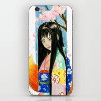 kit king iPhone & iPod Skins featuring Kitsune Kit by Stormwolf Studios