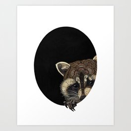 Socially Anxious Raccoon Art Print