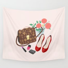 Classic Friday Night, bag, shoes, flower, make up, lipstick art print, girly illustration Wall Tapestry