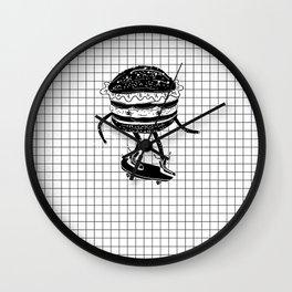 Cucumburger. Cucumber Burger on skateboard Wall Clock