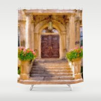 welcome Shower Curtains featuring Welcome by Mary Timman