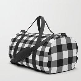 Gingham Pattern - Black & White Duffle Bag