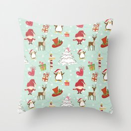 Christmas Elements Reindeer Design Pattern Throw Pillow