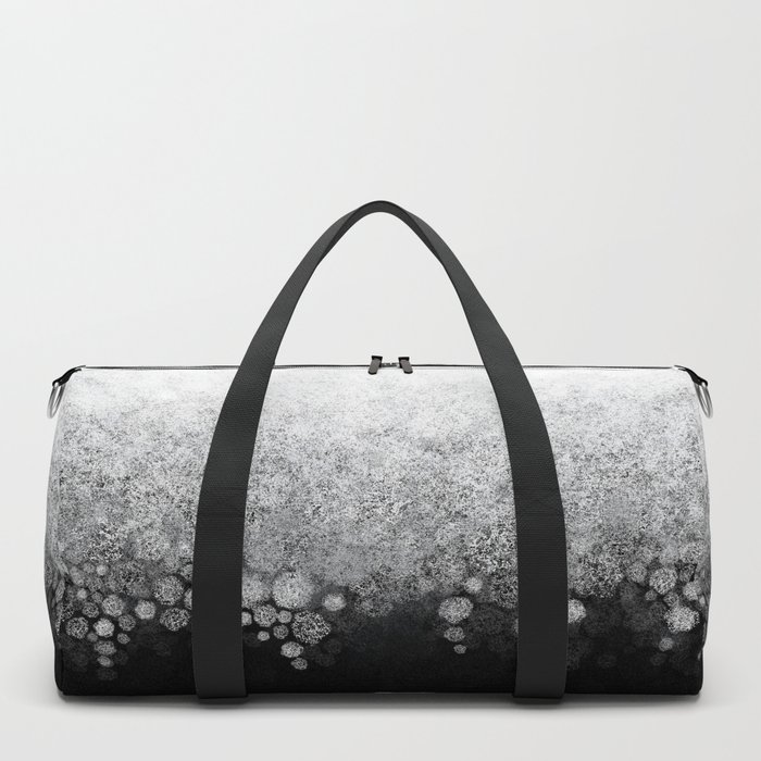 Snowfall on Black Duffle Bag