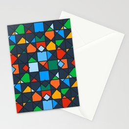 Colorful Kaleidoscope Architectural Geometric Pattern Stationery Cards