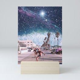 Starry Waves - Space Aesthetic, Retro Futurism, Sci Fi Mini Art Print