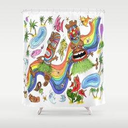 Hawaiian Tiki Play Date Shower Curtain
