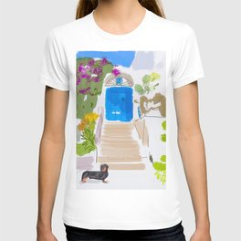 Beautiful front door with flowers of a house in Ischia island , italy T-shirt