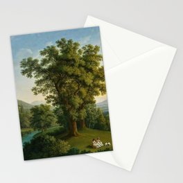 River Landscape with Elements of the English Garden at Caserta, Italy by Jakob Philipp Hackert Stationery Cards
