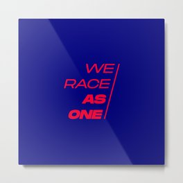 Race As One Textured Blue Red Metal Print