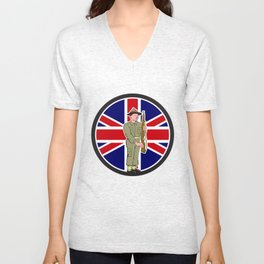 British World War II Soldier Union Jack Flag Cartoon Unisex V-Neck