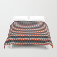 gray pattern Duvet Covers featuring Orange Gray Pattern by Jaymee
