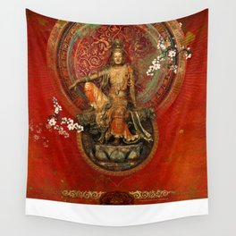 Kwanyin on Red Wall Tapestry