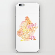 Typographic Brooklyn - Orange Watercolor map art iPhone & iPod Skin
