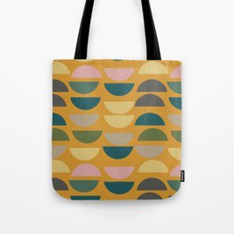 Geometric Graphic Design Shapes Pattern in Mustard Yellow Tote Bag
