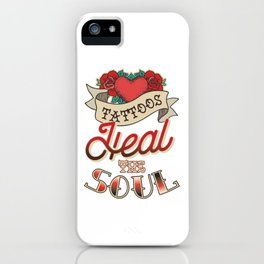 Floral Tattoo with Heart & Soul iPhone Case