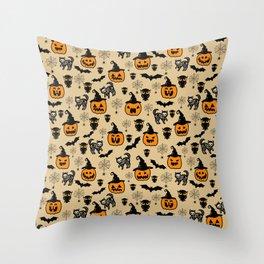 Halloween pumpkin pattern, black cat skeleton, owl, spider web design Throw Pillow