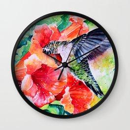 Hummingbird Feeding Wall Clock