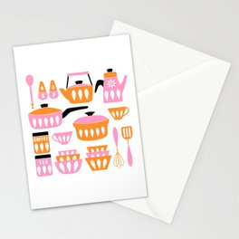 My Midcentury Modern Kitchen In Pink And Tangerine Stationery Cards