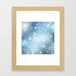 Snowflakes Christmas night Framed Art Print