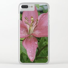 Pink lilly with a water drops Clear iPhone Case