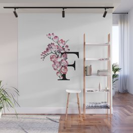 Letter 'F' Freesia Flower Typography Wall Mural