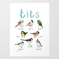 tits Art Prints featuring Tits Illustration by Sarah Edmonds Illustration