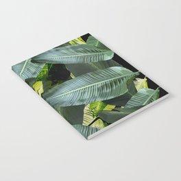 Topical palm leaf, banana leaf, black background, greens, Beach Hawaii decor Notebook