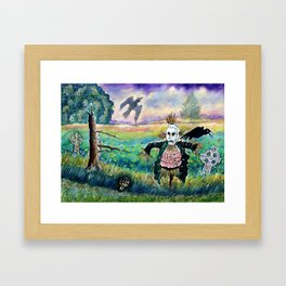Halloween Field with Funny Scarecrow Skeleton Hand and Crows Framed Art Print