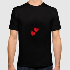 Hello love! White background . Black MEDIUM Mens Fitted Tee