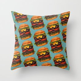Double Cheeseburger Pattern Throw Pillow