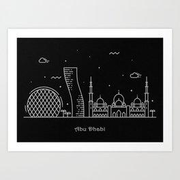 Abu Dhabi Minimalist Skyline Drawing Art Print