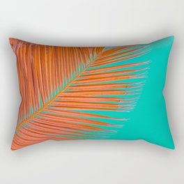 Minimal poster. leaf of palm tree in pastel colors (blue and orange) Rectangular Pillow