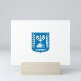 emblem of Israel 1-יִשְׂרָאֵל ,israeli,Herzl,Jerusalem,Hebrew,Judaism,jew,David,Salomon. Mini Art Print