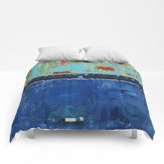 Dress Blues Blue Abstract Landscape Modern Comforters