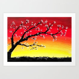 Drawing Sunset and a Blossom Tree Art Print