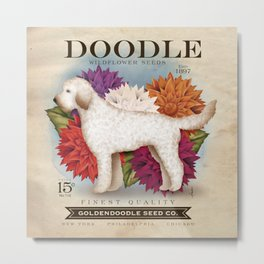 Doodle Goldendoodle wildflower seed packet artwork by Stephen Fowler Metal Print