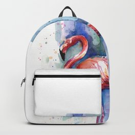 Pink Flamingo Watercolor Tropical Animals Birds Backpack